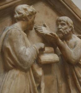 Platon_et_Aristote_par_Della_Robbia_détail